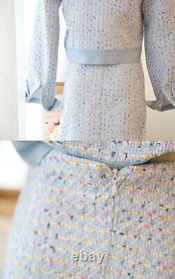 Tweed gold multicolor plaid skirt blazer jacket suit outfit set cream white blue