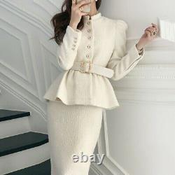 Tweed gold pencil skirt belted peplum blazer jacket suit set outfit white black