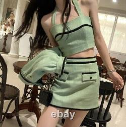 Tweed jacket top skirt set outfit suit green black lined blue grey 2 pcs
