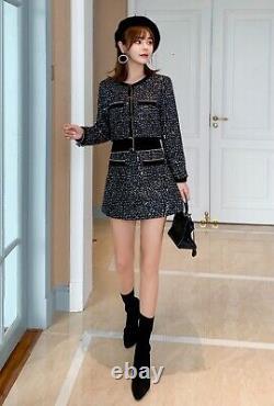 Tweed plaid black gold multicolor sequin skirt jacket blazer suit set outfit 2