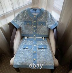 Tweed plaid blue gold sequin skirt jacket blazer suit set outfit