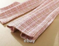 Tweed plaid pink lux tailored pants trousers jacket blazer suit set outfit 2