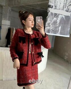 Tweed plaid red gold black bow skirt blazer jacket suit outfit set 2 lux
