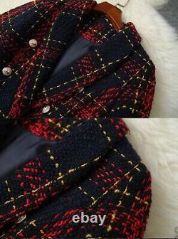 Tweed plaid red navy gold shorts double jacket blazer suit set outfit