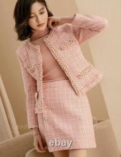 Tweed plaid runway chic tailored pearl gold blazer jacket skirt suit outfit set