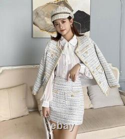Tweed plaid tailored chic gold skirt blazer jacket suit outfit set cream blue