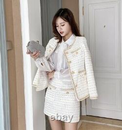 Tweed plaid tailored chic lapel gold skirt blazer jacket suit outfit set cream