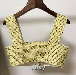 Tweed plaid yellow silver rhinestone top blazer jacket skirt outfit suit set 3