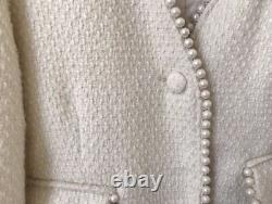 Tweed twill tailored chic pearl skirt blazer jacket suit outfit set cream white