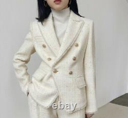 White gold plaid fringe pants trousers double breasted blazer jacket suit outfit