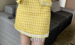 Yellow white plaid tweed fringe skirt jacket blazer suit set outfit chic