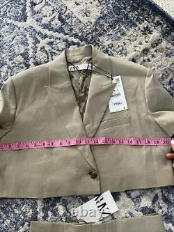 Zara Linen Cropped Blazer & Skirt Co Ord Matching Set Outfit Size M BNWT $169