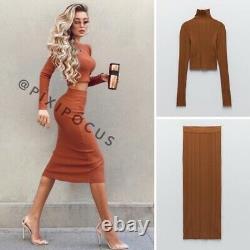 Zara New 2 Piece Knit Co-ord Set Skirt + Sweater Top Red Orange M Medium