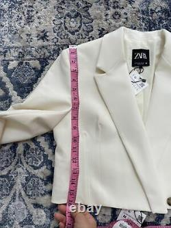 Zara Oyster White Cropped Blazer & Skirt Co Ord Matching Set Outfit Size M BNWT