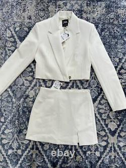 Zara Oyster White Cropped Blazer & Skirt Co Ord Matching Set Outfit Size S BNWT