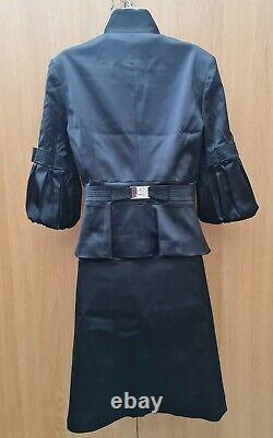 14 Royaume-uni Karen Millen Noir Satin Smart Cocktail Jupe Formelle & Veste Costume Outfit
