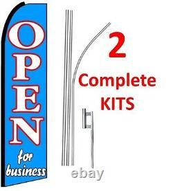 2 (deux) Open For Business Bleu 15' Swooper #1 Kit De Drapeaux Plume Avec Poteaux+pointe