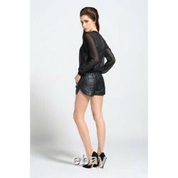 Black Cab Marque Runner Dames Short En Cuir Sexy Outfit Taille 6 Uk Xmas Vente