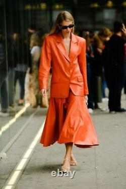 Blazer En Cuir Fait Main Et Jupe Plissée Flair Ensemble Of Outfit Made In Lambskin