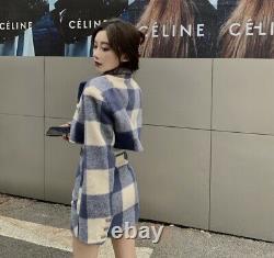 Bleu Blanc Plaid Vérifier La Laine Cachemire Veste De Récolte Blazer Jupe Costume Ensemble Tenue