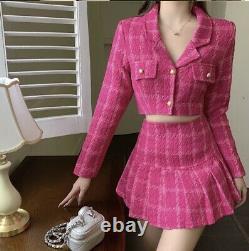 Chic Chaud Rose Plaid Tweed Jupe En Or Courte Crop Veste Blazer Costume Ensemble Tenue