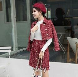 Chic Classique En Or Rouge Tweed Twill Plaid Jupe Veste Blazer Costume Ensemble Tenue 2 Pc