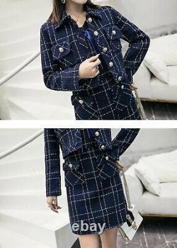 Chic Classique Marine Bleu Or Tweed Plaid Robe Veste Costume Blazer Ensemble
