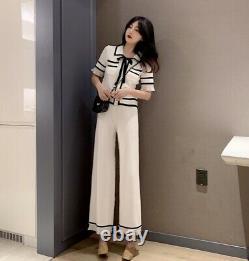 Chic Classique Noir Blanc Tricot Pantalon Pantalon Haut Pull Veste Costume Ensemble Tenue