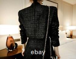 Chic Élégant Argent Tweed Noir Une Ligne Longue Jupe Veste Blazer Costume Ensemble Tenue