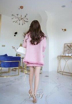 Chic Lux Cachemire Perle Rose Tweed Jupe Blazer Veste Costume Costume Ensemble 2