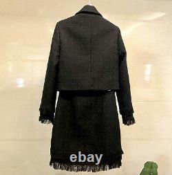 Chic Luxe Twill Tweed Jupe En Or Blazer Veste Costume Ensemble Tenue Crème Noir