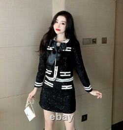 Chic Noir Blanc Chatoyant Jupe Tweed Veste Blazer Costume Ensemble Tenue Baroque