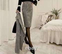 Chic Noir Blanc Houndstooth Tweed Crayon Jupe Veste Blazer Costume Ensemble Tenue