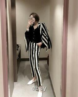 Chic Noir Blanc Stripe Pantalon Sur Mesure Pantalon Blazer Veste Costume Ensemble