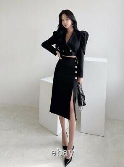 Chic Noir Bouffée Courte Recadrée Veste Blazer Fente Jupe Costume En Or Costume Ensemble 2