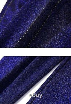 Chic Scintillant Bleu Marine Or Tricot Tracksuit Pantalon Pantalon Ensemble Tenue 2