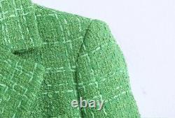 Chic Short Tweed Vert Brillant Blazer Veste Ensemble Costume Or Set Tenue 2 Pc