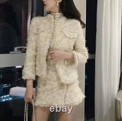 Chic Tweed Crème Beige Or Plaid Perle Jupe Blazer Veste Costume Ensemble