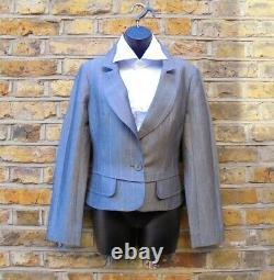 Christian Lacroix Femmes Grey & Rose Pinstripes Blazer Jupe Costume Outfit Uk 12-14