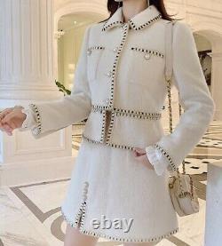 Classic Chic Blanc Noir Perle Tweed Jupe Blazer Veste Costume Ensemble