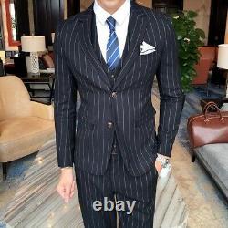 Combinaisons Rayées Pour Hommes 3pcs Business Tuxedo Robe Formelle De Style Britannique Outfit New L