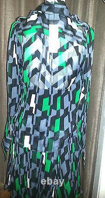 Diane Von Furstenberg Blk Grn Gry & Wht Kit Kat Club Print S12 Skirt Set T.n.-o.