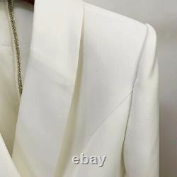 Double Breasted White Blazer Mini Dress With Gold Buttons Long Elegant Outfit