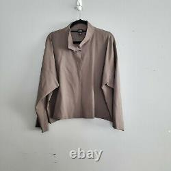 Eileen Fisher Taupe Wool 2-piece Pant Set Outfit V-neck Euc Taille Femme Moyen