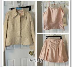 Enfants Filles Pageant Career Outfit Taille 8 Rose 3 Pièces Set Moka Jupe Blazer Nouveau
