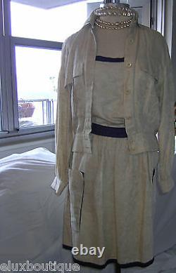 Escada 3 Pièces Jupe Suit Camisole Veste Set Lin Outfit Top Blazer 36 4 6 Nouveau