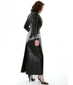 Femme Elegant Lambskin Leather Dress Full Length Sexy Outfit Black Long Dress