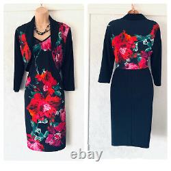 Frank Lyman Multi Colour Floral 2 Pièces Outfit Bolero & Dress Taille De La Combinaison Uk 12