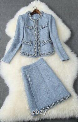 Gold Perle Bleu Crème Sur Mesure Tweed Plaid Jupe Blazer Veste Costume Ensemble