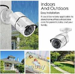 Hd 4 Caméra 1080p Tvi Dvr Outdoor Home Surveillance Security System Kit 1to Hd